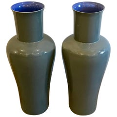 Pair of Putty Gray Porcelain Ceramic Vases by Bo Jai for Middle Kingdom, Signed