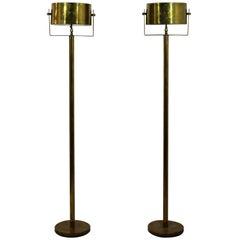 Mid-Century Modern Pair of Brass Standing Floor Lamps Torchiere, Hart Associates
