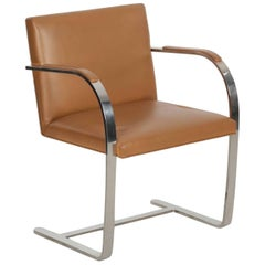 Mies van der Rohe for Knoll Leather and Steel Brno Flat Arm Chair