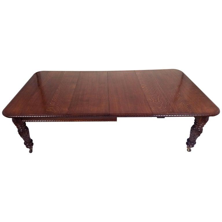 Mid-Victorian Figured Oak Extending Dining Table