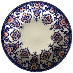 19th Century Gien Blue and Red Faience Plate