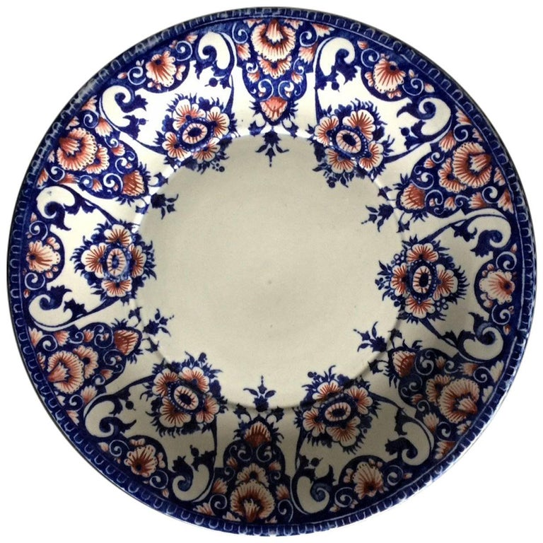 19th Century Gien Blue and Red Faience Plate For Sale