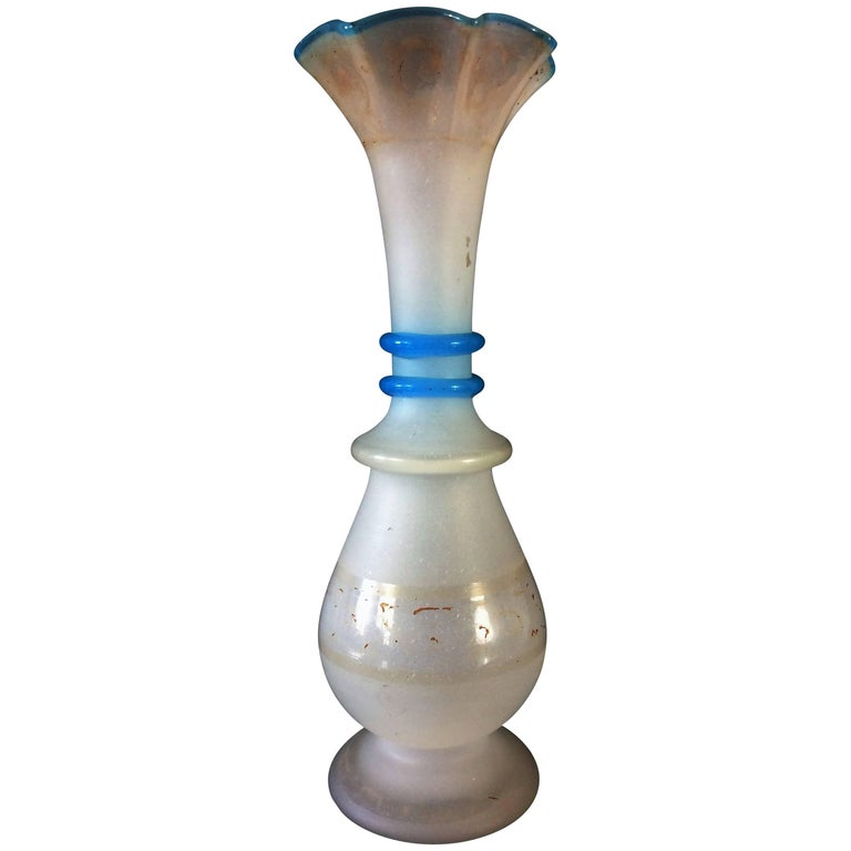 19th Century Soliflor Vase in White and Blue Opaline For Sale