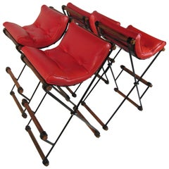 Four Cleo Baldon Wrought Iron and Oak Bar Stools Vintage Tomato Red Cushions