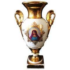 Baluster Vase in Paris Porcelain with the Effigy of the Virgin Mary