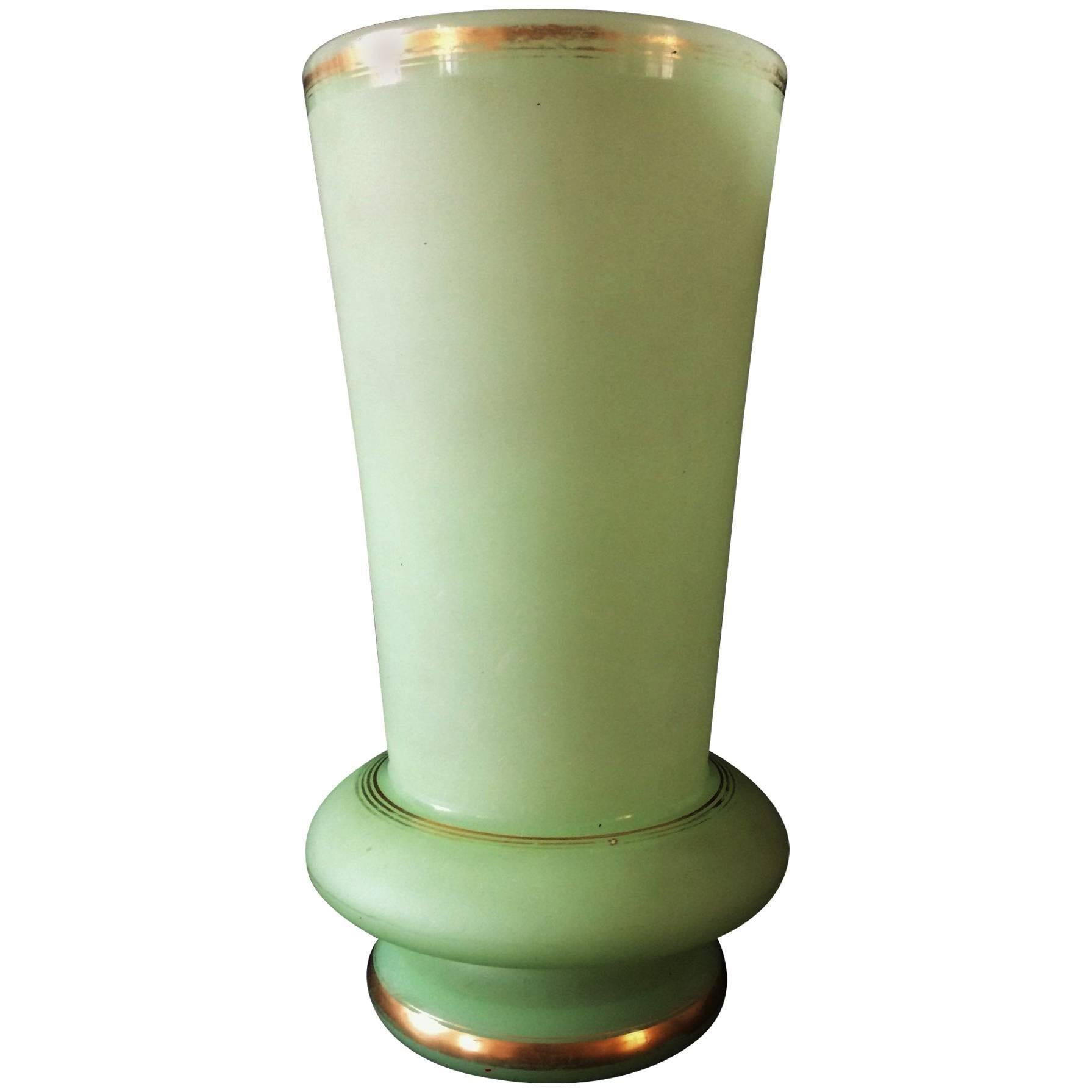 1940s Art Deco Green Opaline Vase