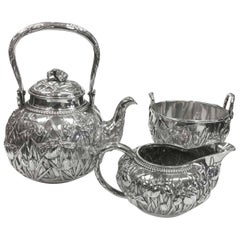 Japanese Solid Silver Repoussé Tea Set