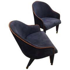 Pair of Blue Suede Jacques Adnet Armchairs