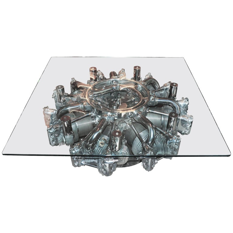 Continental R-670 Engine Coffee Table from Fairchild PT-23 Aircraft