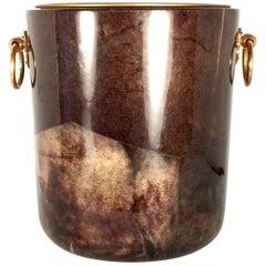 Vintage Aldo Tura Tobacco Brown Goatskin and Brass Ice Bucket, 1940s, Italy