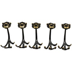 Five Walter Bosse Brass Wall Hooks of a Lion Austria, 1950s