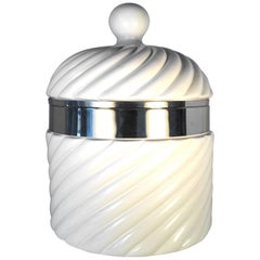 Vintage Tommasi Barbi White Ceramic and Silver Large Ice Bucket, 1960s, Italy
