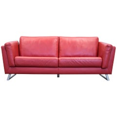 Designer Sofa Leather Red Three-Seat Couch Modern