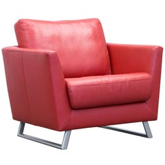Designer Armchair Leather Red One-Seat Couch Modern
