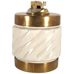 Vintage Signed Tommaso Barbi White Ceramic and Brass Table Lighter, 1960s, Italy