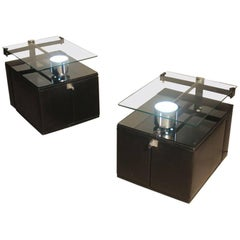 Pair Of Nightstands Attributed Nanda Vigo Faux Leather Steel Glass With Light