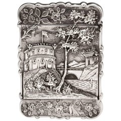 Silver American Castle Card Case by Leonard and Wilson, 19th Century