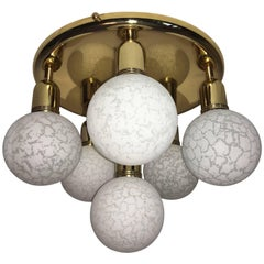 Six Glass Snow Ball and Brass Flush Mount Chandelier