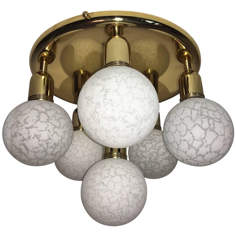 Six Glass Snow Ball and Brass Flush Mount Chandelier For Sale