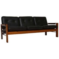 1960s Walnut, Leather and Chrome Vintage Sofa