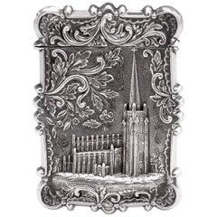 American Silver Card Case Trinity Church, New York, 19th Century