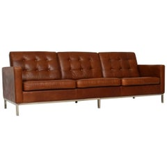 Vintage Florence Knoll Leather and Chrome Sofa