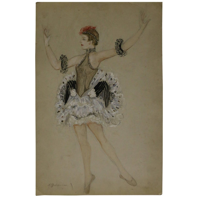 Watercolor by Nathalie Gontcharova, Ballet Costume, France, Art Deco, 1920s For Sale