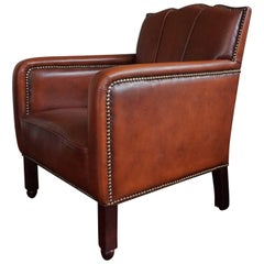 Art Deco Style Leather Ladies Club Armchair, Beautiful Design and Color