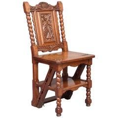 19th Century Oak Metamorphic Library Step Chair