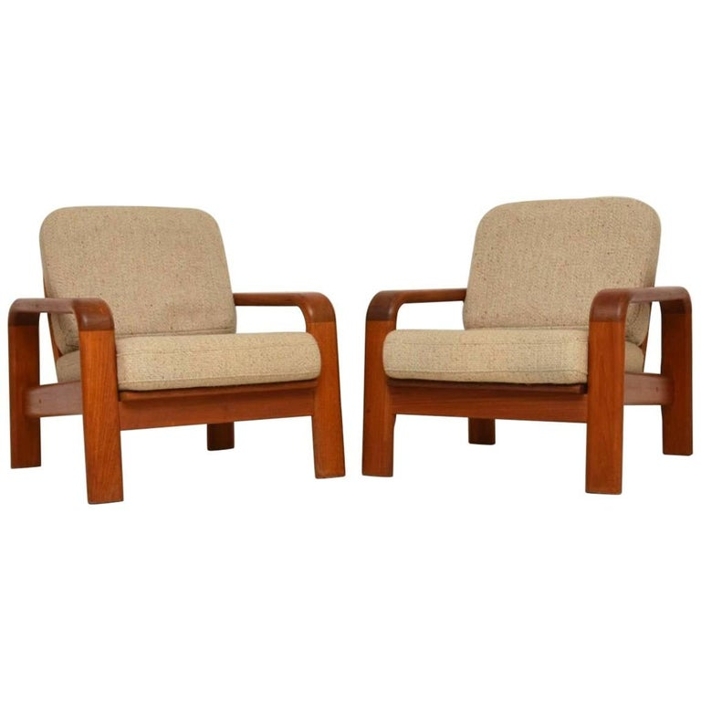1960s Pair of Vintage Danish Teak Armchairs