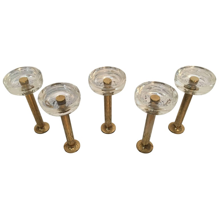 Five Midcentury Wall Hook Brass and Glass, Italy, 1970s For Sale