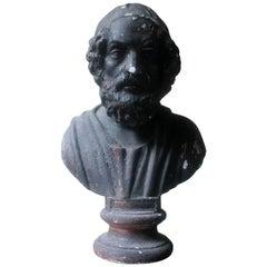 Decorative Black Painted Plaster Portrait Bust of Homer, circa 1900