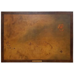 French Vintage Leather Map of the Golfe de St. Tropez