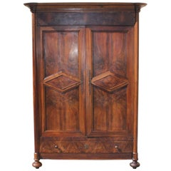 19th Century French Louis Philippe Walnut Period Chateau Armoires, 1850s