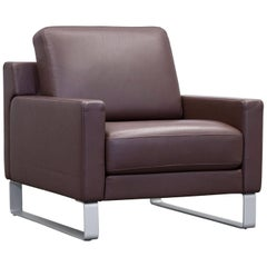 Rolf Benz Ego Designer Armchair Leather Brown One Seat Couch Modern