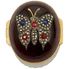 19th Century Garnet and Precious Stones Pill Box