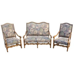 Set of Settees and Armchairs Solid Walnut Louis XIII Style Os De Mouton,1900s