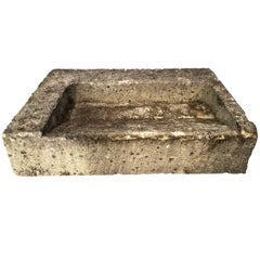 French Midcentury Carved Stone Sink