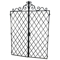 Pair of Tall Arched French Beaux Arts Wrought Iron Gates