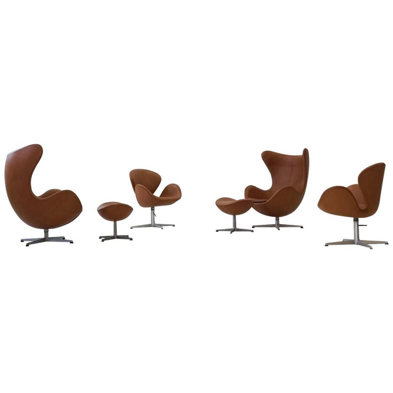 Two Egg Lounge Chairs with Ottoman and Two Swan Armchairs