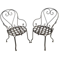 Pair of French Scrolled Wrought Iron Garden Armchairs