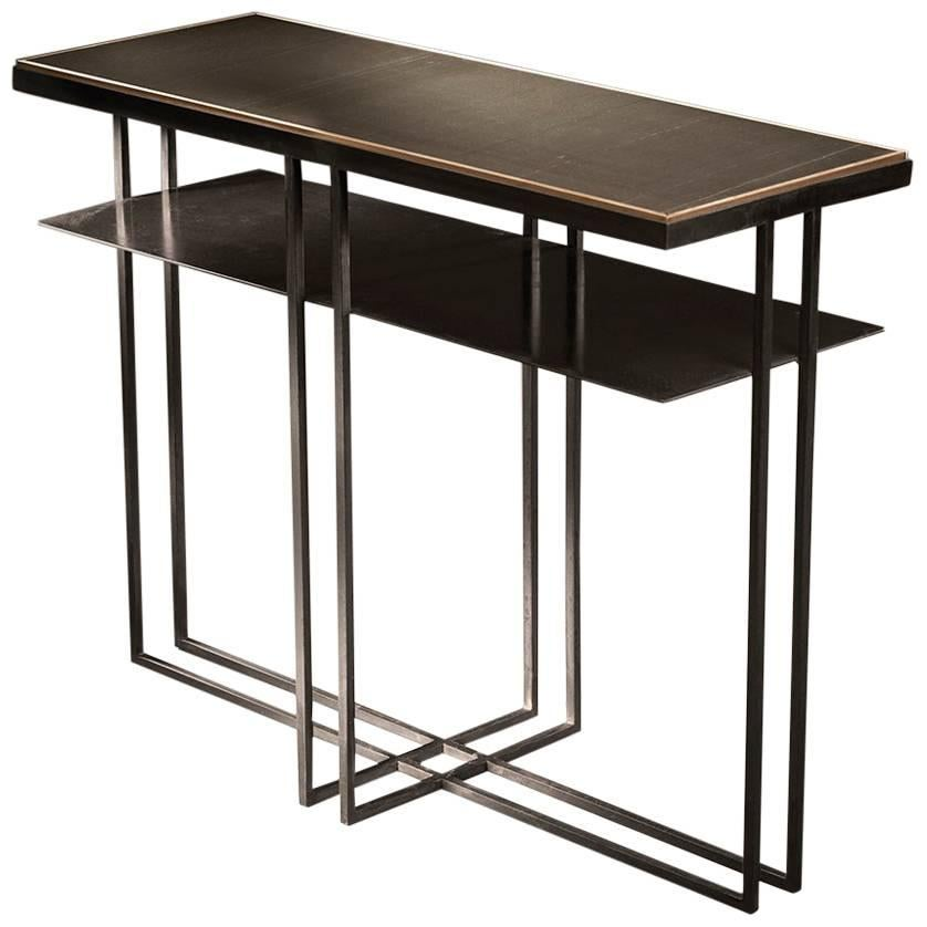 Small Cross Binate Art Deco Minimal Metal Console Table with Slate and Brass