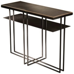 Cross Binate Metal Side Table in Blackened Steel and Honed Cumbrian Slate