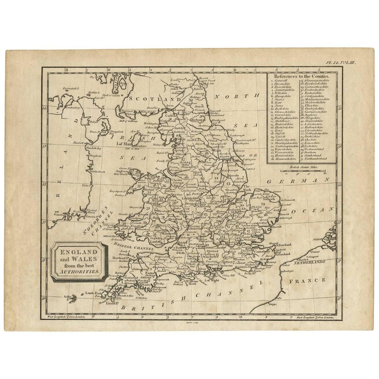 Antique Map of England and Wales by G. Kearsley, 1802