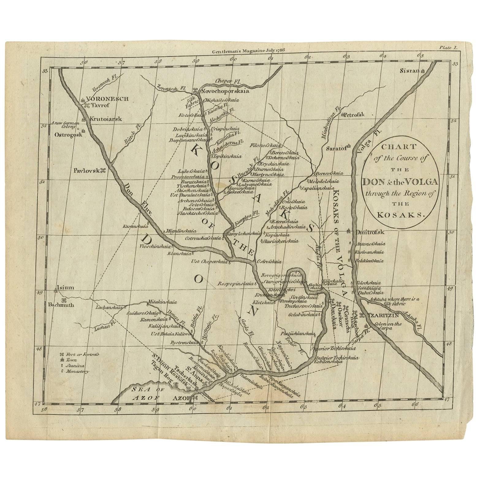Antique Map of the Region Near the Sea of Azof Published in Gentleman's Magazine