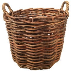 Large French Wicker Boulangerie Basket with Handles