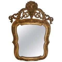 Antique Rococo Giltwood Mirror with Cherub's Face