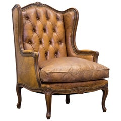 Chesterfield Armchair Leather Cognac Brown One Seat Couch Retro Vintage