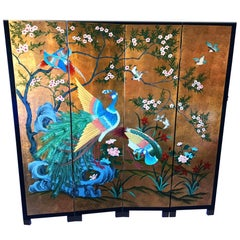 Coromandel Screen Lacquered Gold peacock ,2000