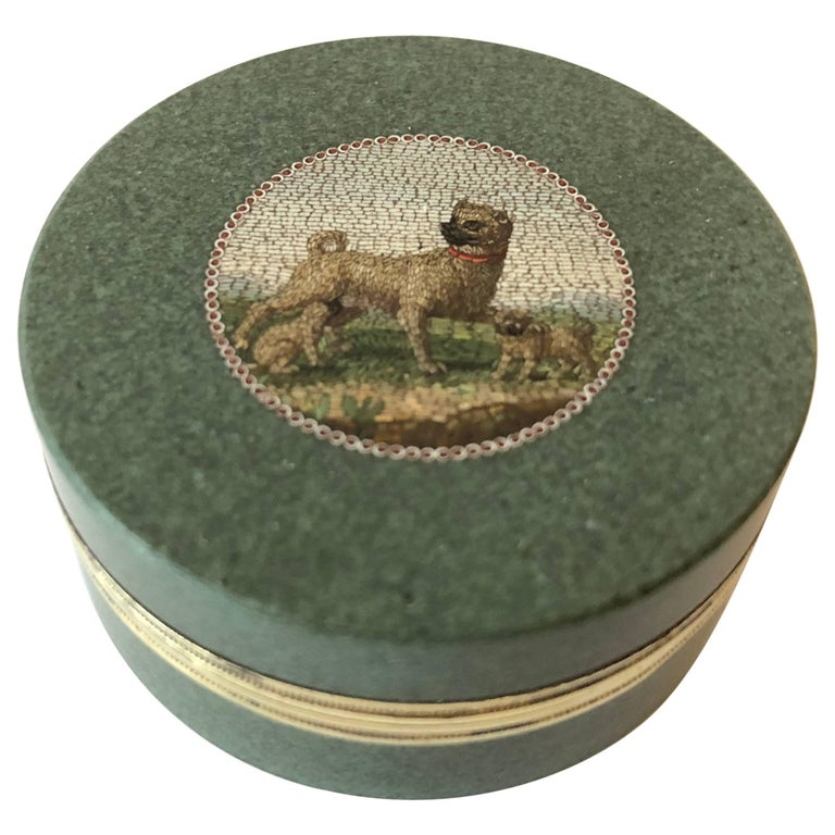 Small Hardstone Box Set with a Micromosaic Attributed by Giacomo Raffaelli For Sale